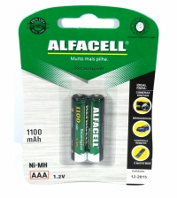 PILHA RECARREGAVEL 1,2V AAA 1100MA ALFACELL (CART.2PCS)