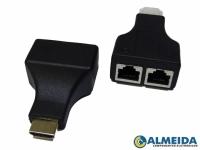 EXTENSOR HDMI 30 METROS VIA CABO DE REDE UTP RJ45 CAT-5E/6