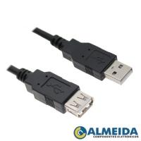 CABO USB EXTENSOR A MACHO + A FEMEA 2.0 2 MTS EXBOM
