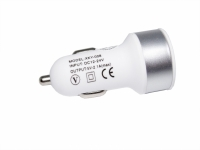 CARREGADOR VEICULAR USB 5V 2 SAIDAS 2.1A/1A CROMADO